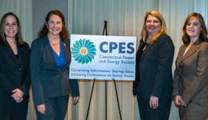From left to right: Weezie Nuara, ISO New England; Congresswoman Elizabeth Esty; Joey Lee Miranda, Robinson & Cole, CPES President; and Alexandrea Isaac, Starion Energy, CPES Board Member.